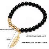 Agate Tiger Eyes Bracelet 24K Gold Plated Leaf - 2 Color Variations