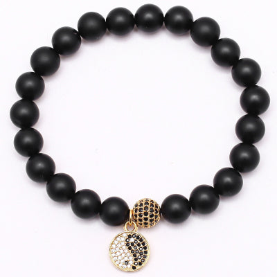 Black Agate Buddha Bracelet Men - 4 Design Variations