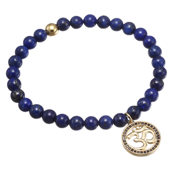 24K Gold Plated Natural Stone Mala Bracelet - 4 Color Variations