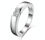 Platinum Plated Hearts and Arrows CZ Wedding Ring