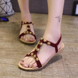 Flat Beaded Bohemian Flower Beach Sandals - 3 Color Variations