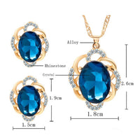 Flower Rhinestone Pendant Necklace & Earrings - 2 Color Variations