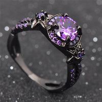Black Gold Filled Amethyst Ring