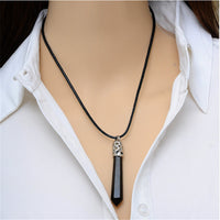 Natural Stone Hexagonal Necklace - Black Stone