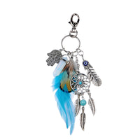 Natural Stone Feather Dreamcatcher Keychain - Blue Feather