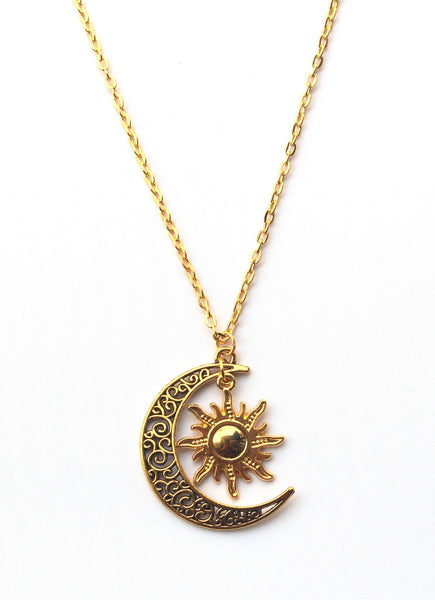 Gold Sun & Crescent Moon Necklace