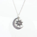 Silver Sun & Crescent Moon Necklace