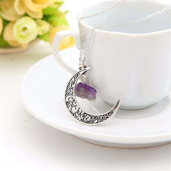 Natural Stone Crescent Moon Necklace - Silver with Amethyst Stone