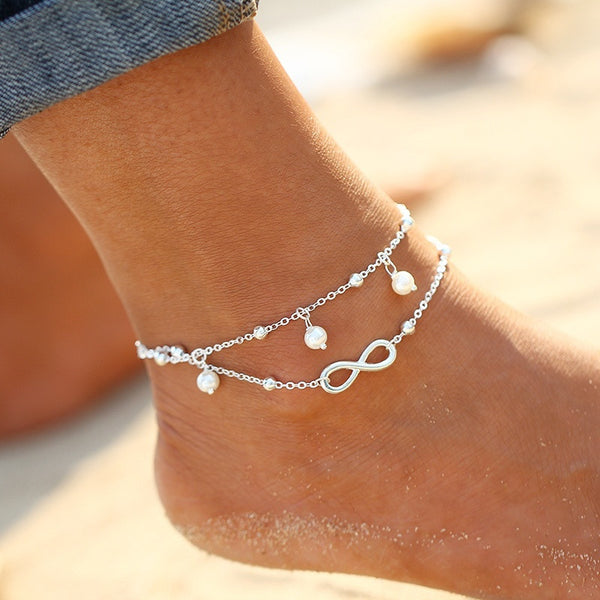 Women's Double Layer BOHO Infinity Beach Anklet - Silver