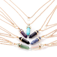 Multi-layer Natural Stone Moon Necklace