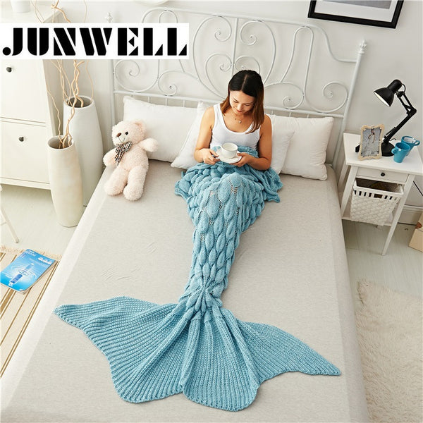 Blue Handmade Crochet Mermaid Tail Blanket