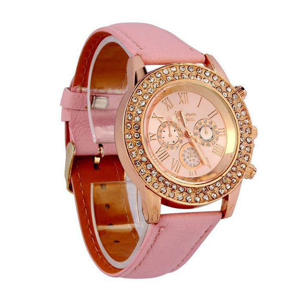 Crystal Dial Quartz Analog Watch - 3 color variants