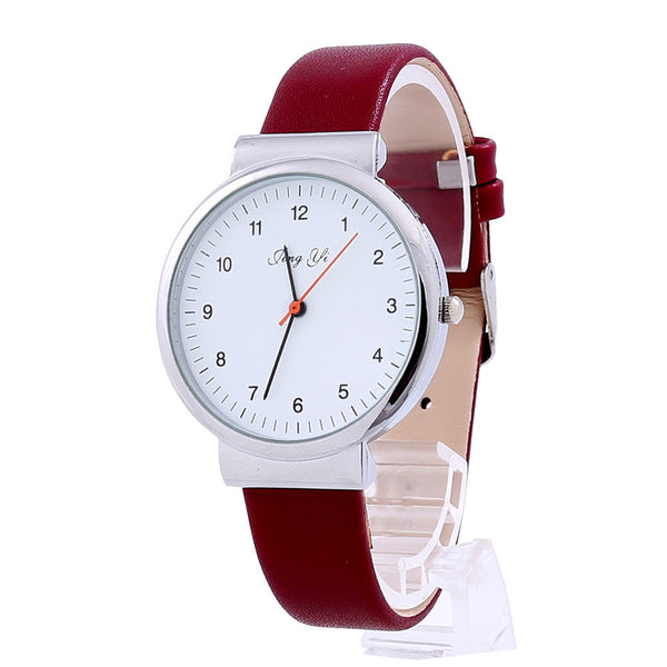Simple Roman Number Quartz Leather Watch -2 Color Variants