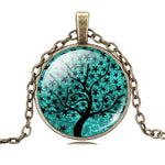 Tree of Life Cabochon Pendant Necklace with Blue & Black Glass