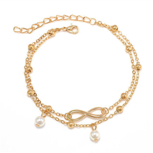 Women's Double Layer BOHO Infinity Beach Anklet - Gold