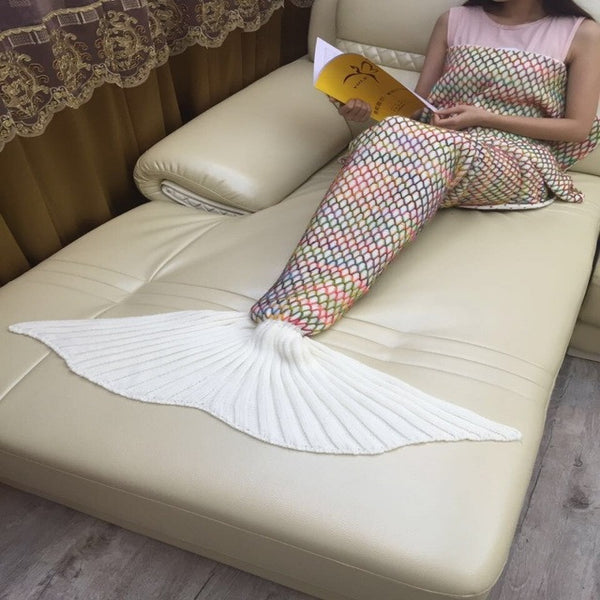 White Wool Knit Mermaid Tail Crocheted Blanket