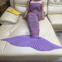 Purple Wool Knit Mermaid Tail Crocheted Blanket