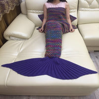 Blue Wool Knit Mermaid Tail Crocheted Blanket
