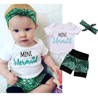 Newborn Mini Mermaid Top and Bottom Headband