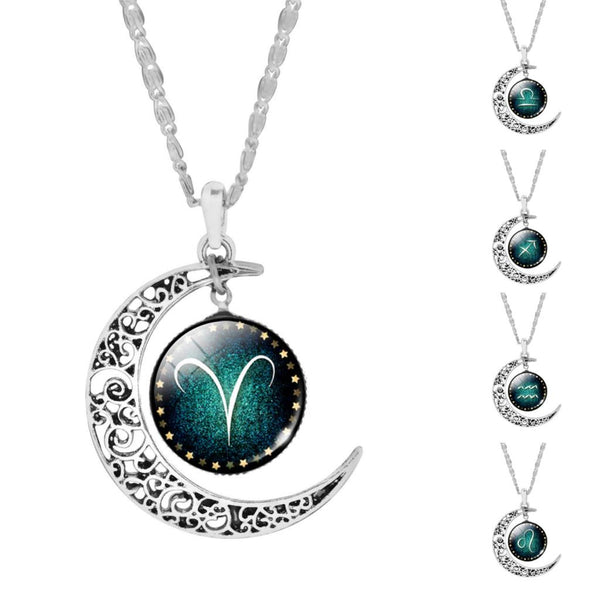 Zodiac Cabochon Silver Crescent Moon Long Pendant- ALL 12 SIGNS AVAILABLE FREE ITEM!!