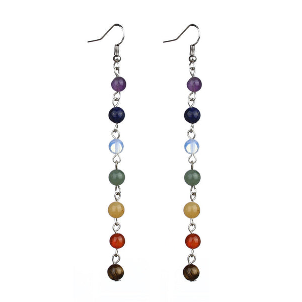 Natural Stone Chakra 7 Stone Reiki Healing Earrings