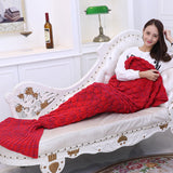 Red Soft Mermaid Tail Knitted Blanket