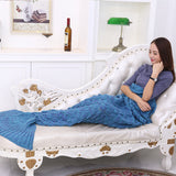 Blue Soft Mermaid Tail Knitted Blanket