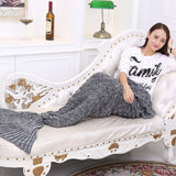 Dark Grey Soft Mermaid Tail Knitted Blanket