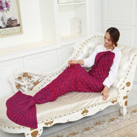 Rose Red Soft Mermaid Tail Knitted Blanket