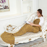 Yellow Soft Mermaid Tail Knitted Blanket