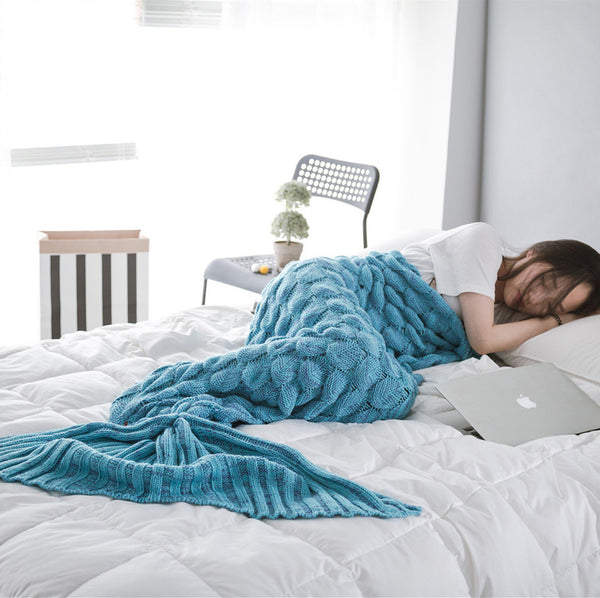 Blue Luxurious Mermaid Tail Scales Style Blanket
