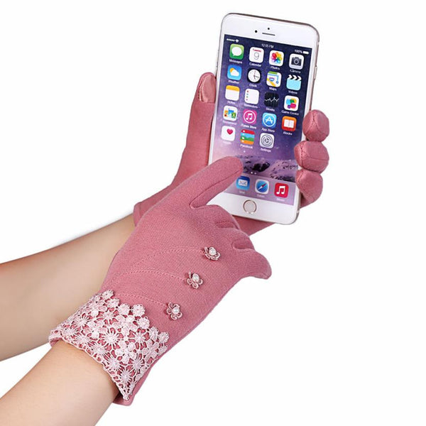 High Quality Lace Decoration Warm Gloves - works with phones 6 Color Variations