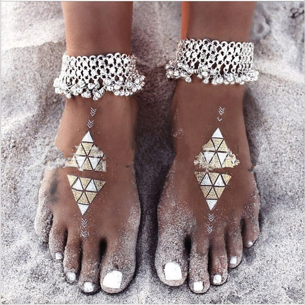 Silver Plated Tassel Beach Anklets