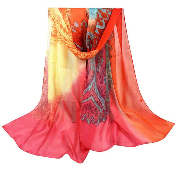 Chiffon Soft Women Scarves with Pattern - 4 Color Variants