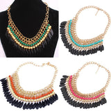 Bohemian Layered Beads Tassel Choker - 4 Color Variants