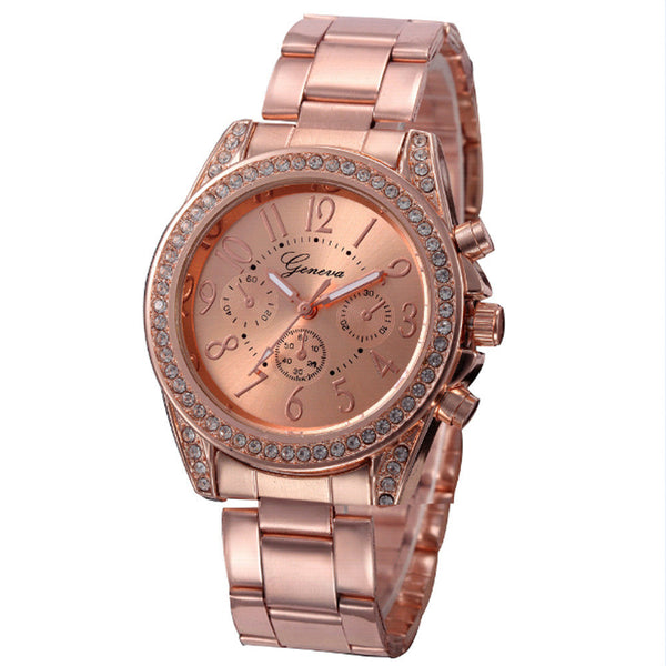 Geneva Dress Stainless Steel Crystal Gold Ladies Watch - 4 Color Variations