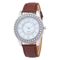 Elegant White Quartz Women's Leather Watch - 9 Color Variants
