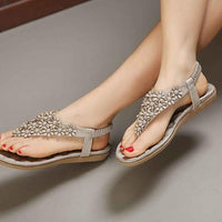 Bohemian Herringbone Beaded Beach Sandals - Gray or Pink