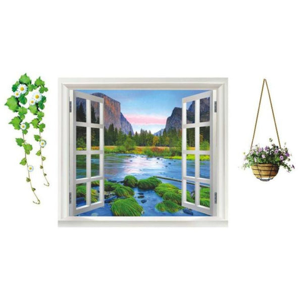 Mountain Scenery Window Wall Sticker