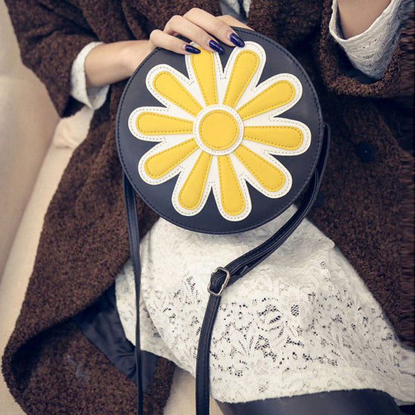 Crossbody Tote Bag with Sun Design - Black or White