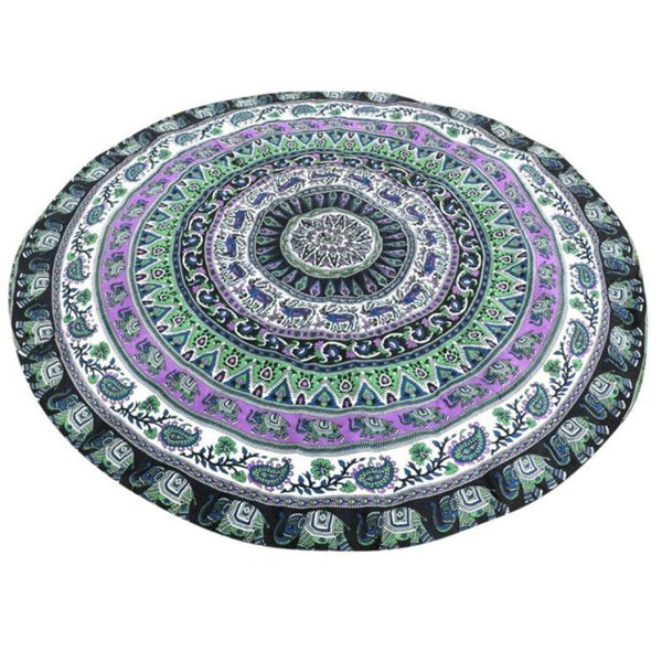 Bohemian Round Beach Towel Blanket & Yoga/Meditation Mat