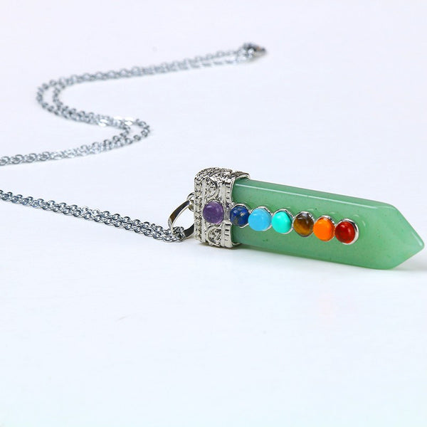 Natural 7 Stone Chakra Healing Necklace - Green Aventu