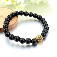 Natural Stone Lion Head Bracelet - Black Beads