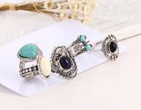 5 Pcs Antique Bohemian Turquoise & Silver Ring Set