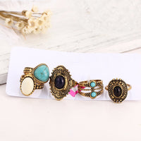 5 Pcs Antique Bohemian Turquoise & Gold Ring Set