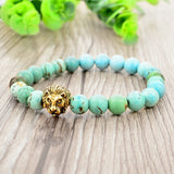 Natural Stone Lion Head Bracelet - Light Blue Beads