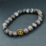 Natural Stone Lion Head Bracelet - Grey Beads
