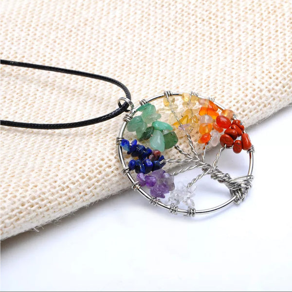 7 Stone Tree Of Life Chakra Necklace