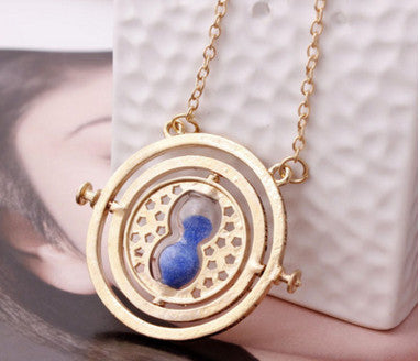 Time Turner Hourglass Necklace - Golden Blue