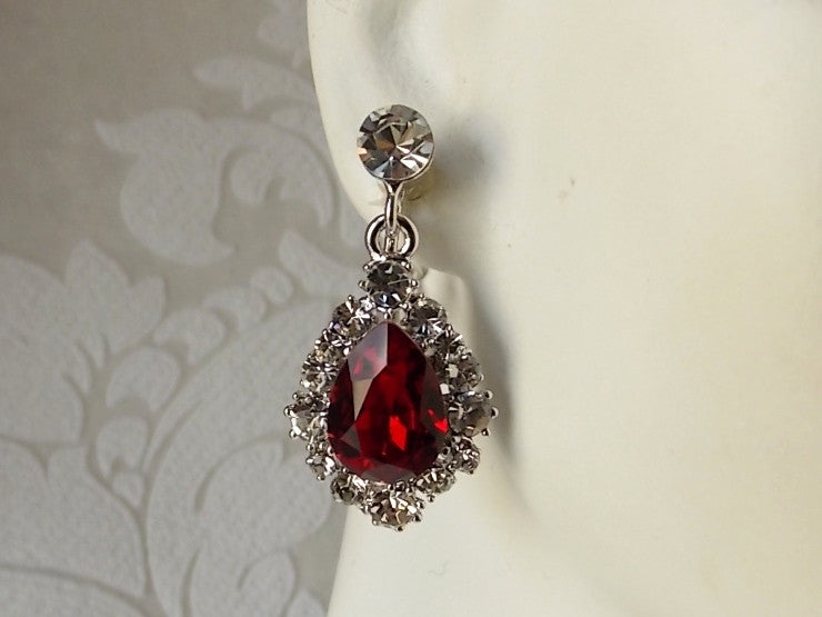 Vintage Style Drop Earrings with Swarovski Crystal for Art Deco Wedding